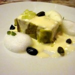 Sicilian pistachio cake, meyer lemon, chartreuse, honeydew ice cream