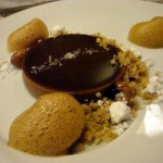Hazelnut tart, coconut, chocolate, chicory