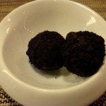 Amuse bouche: Chocolate shortbread-covered ice cream balls