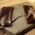 Amuse bouche: Cocoa packets on cracked slab