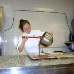 Pouring out the gianduja crunch