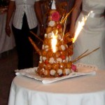 Traditional French wedding croquembouche (profiteroles stuck together with caramel)