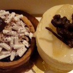 Lyonnais pastries: Mont Blanc (meringue & chocolate/chestnut creams) and Asian pear mousse