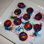 Rainbow glitter chocolate cups